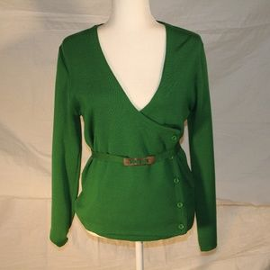 Vintage 70's wool sweater with belt, small